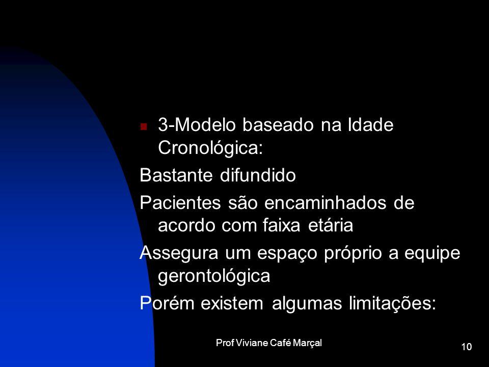Prof Viviane Café Marçal 10 3-Modelo baseado na Idade Cronológica: Bastante difundido Pacientes são encaminhados de acordo com faixa etária Assegura u