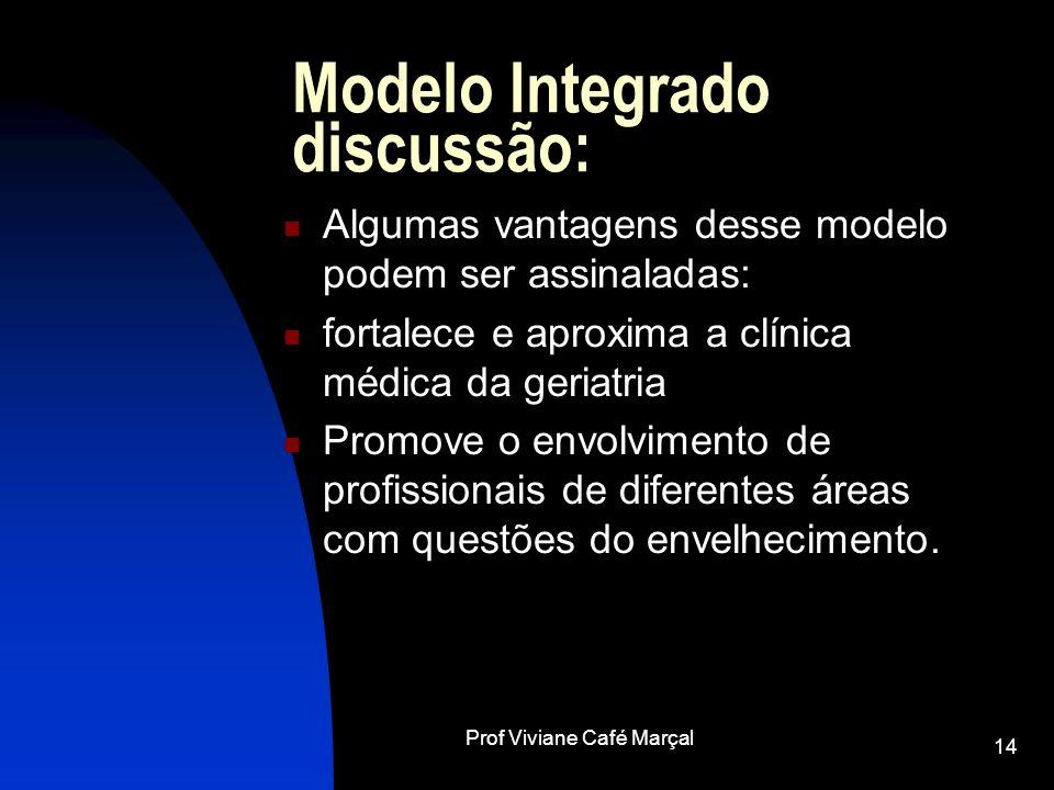 Prof Viviane Café Marçal 14 Modelo Integrado discussão: Algumas vantagens desse modelo podem ser assinaladas: fortalece e aproxima a clínica médica da