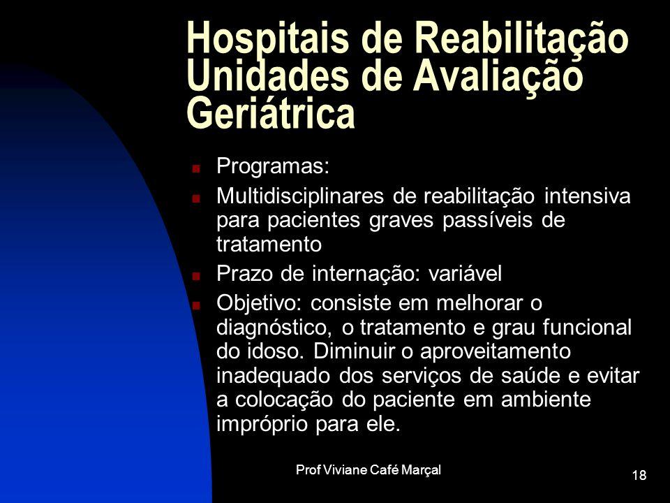 Prof Viviane Café Marçal 18 Hospitais de Reabilitação Unidades de Avaliação Geriátrica Programas: Multidisciplinares de reabilitação intensiva para pa