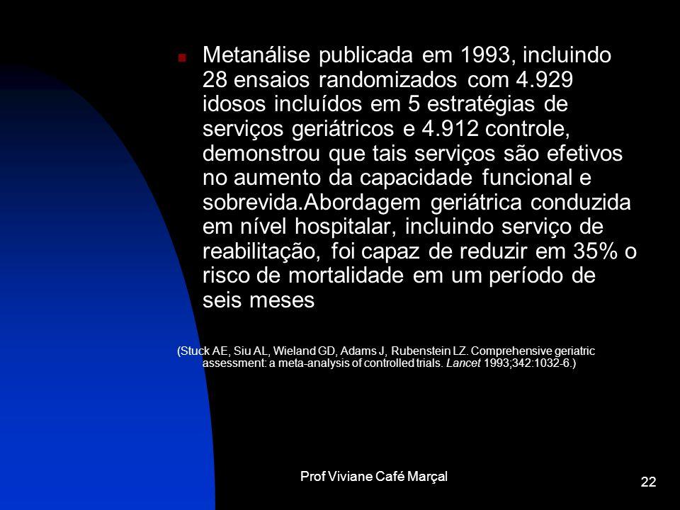 Prof Viviane Café Marçal 22 Metanálise publicada em 1993, incluindo 28 ensaios randomizados com 4.929 idosos incluídos em 5 estratégias de serviços ge