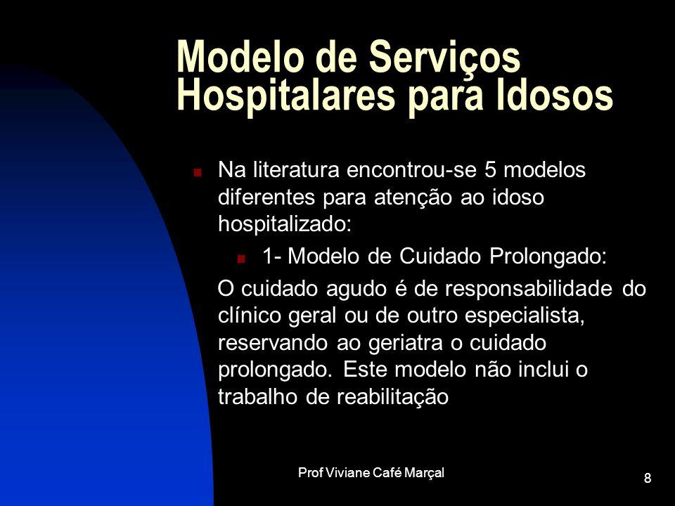 Prof Viviane Café Marçal 8 Modelo de Serviços Hospitalares para Idosos Na literatura encontrou-se 5 modelos diferentes para atenção ao idoso hospitali
