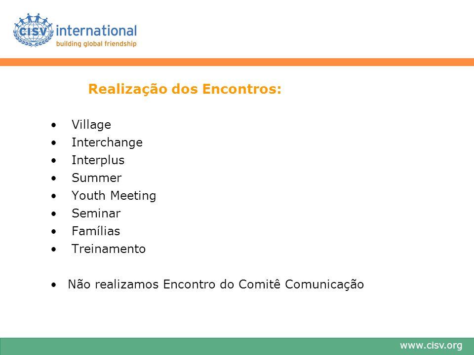 www.cisv.org Realização dos Encontros: Village Interchange Interplus Summer Youth Meeting Seminar Famílias Treinamento Não realizamos Encontro do Comitê Comunicação