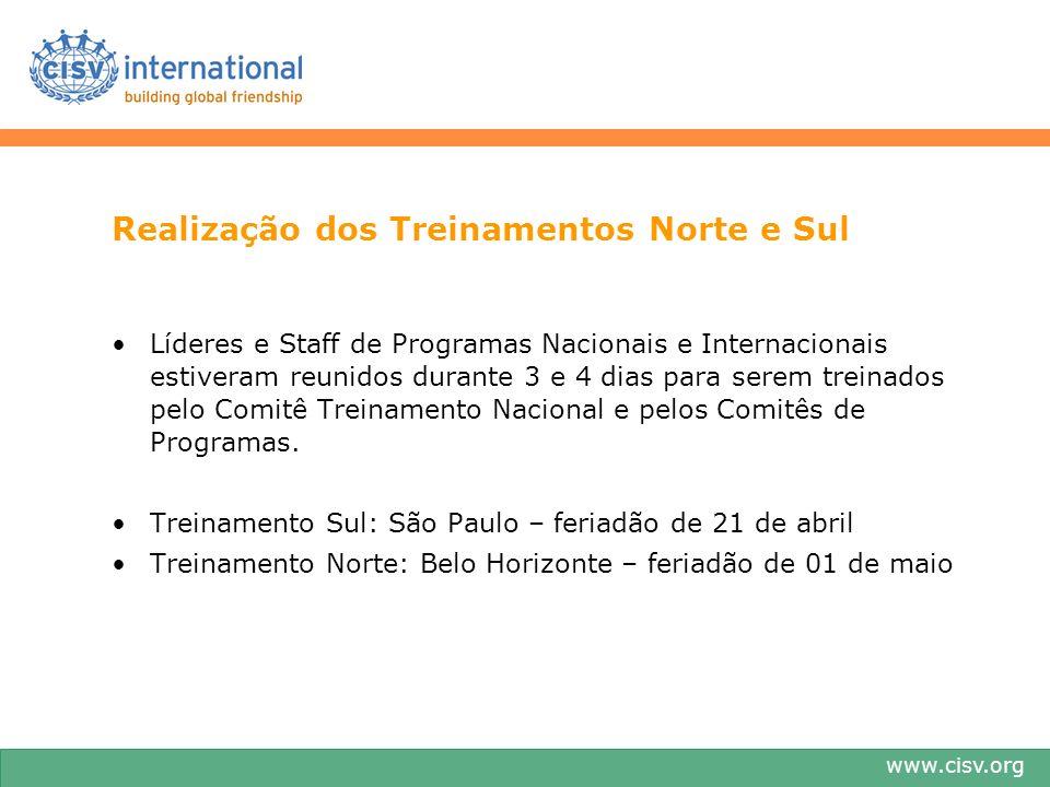www.cisv.org Realização dos Treinamentos Norte e Sul Líderes e Staff de Programas Nacionais e Internacionais estiveram reunidos durante 3 e 4 dias par