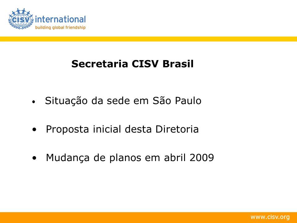 www.cisv.org Secretaria CISV Brasil Situação da sede em São Paulo Proposta inicial desta Diretoria Mudança de planos em abril 2009