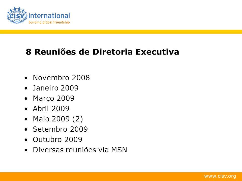 www.cisv.org 8 Reuniões de Diretoria Executiva Novembro 2008 Janeiro 2009 Março 2009 Abril 2009 Maio 2009 (2) Setembro 2009 Outubro 2009 Diversas reun
