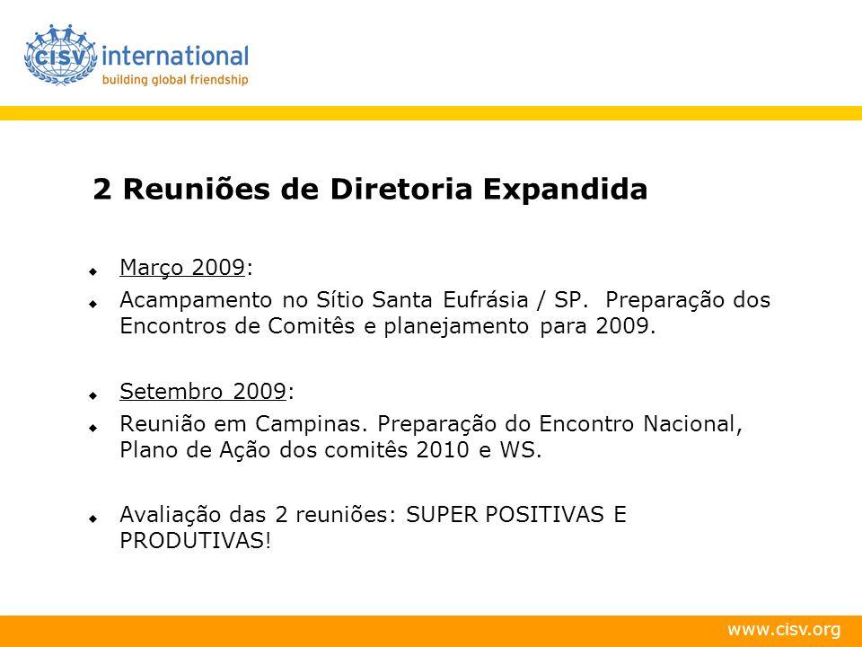 2 Reuniões de Diretoria Expandida Março 2009: Acampamento no Sítio Santa Eufrásia / SP. Preparação dos Encontros de Comitês e planejamento para 2009.