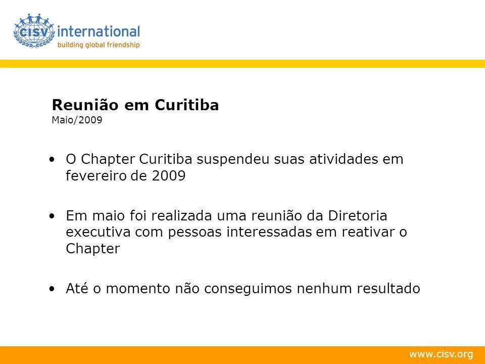 www.cisv.org Reunião em Curitiba Maio/2009 O Chapter Curitiba suspendeu suas atividades em fevereiro de 2009 Em maio foi realizada uma reunião da Dire