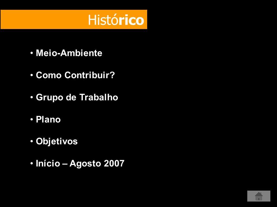 Histórico Meio-Ambiente Como Contribuir? Grupo de Trabalho Plano Objetivos Início – Agosto 2007