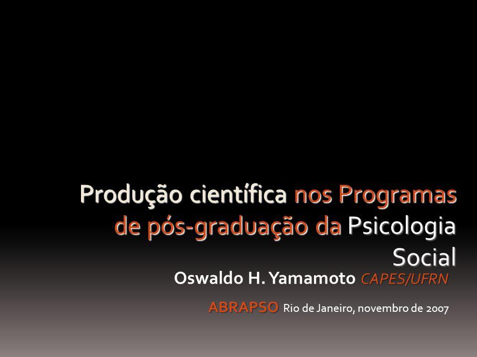 CAPES/UFRN Oswaldo H. Yamamoto CAPES/UFRN ABRAPSO ABRAPSO Rio de Janeiro, novembro de 2007 Produção científica nos Programas de pós-graduação da Psico