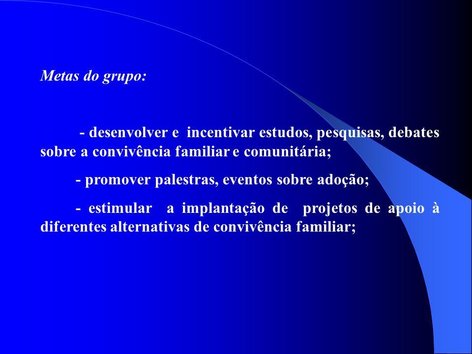 Metas do grupo: - desenvolver e incentivar estudos, pesquisas, debates sobre a convivência familiar e comunitária; - promover palestras, eventos sobre