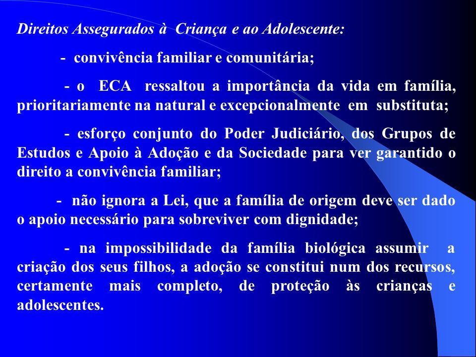 Direitos Assegurados à Criança e ao Adolescente: - convivência familiar e comunitária; - o ECA ressaltou a importância da vida em família, prioritariamente na natural e excepcionalmente em substituta; - esforço conjunto do Poder Judiciário, dos Grupos de Estudos e Apoio à Adoção e da Sociedade para ver garantido o direito a convivência familiar; - não ignora a Lei, que a família de origem deve ser dado o apoio necessário para sobreviver com dignidade; - na impossibilidade da família biológica assumir a criação dos seus filhos, a adoção se constitui num dos recursos, certamente mais completo, de proteção às crianças e adolescentes.