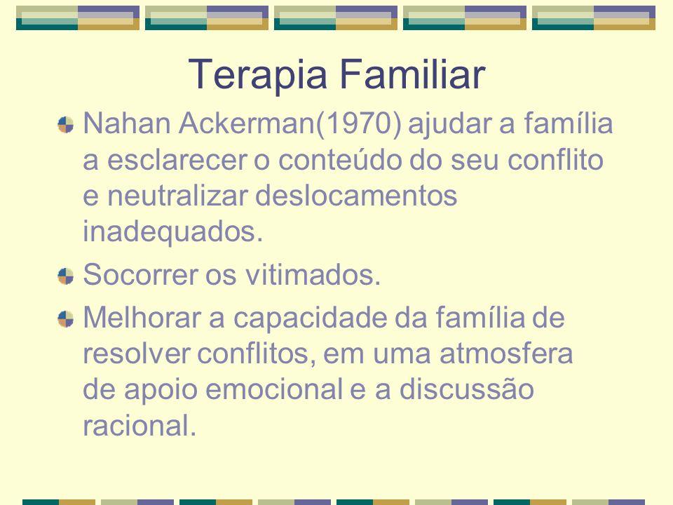 Terapia Familiar Nahan Ackerman(1970) ajudar a família a esclarecer o conteúdo do seu conflito e neutralizar deslocamentos inadequados. Socorrer os vi