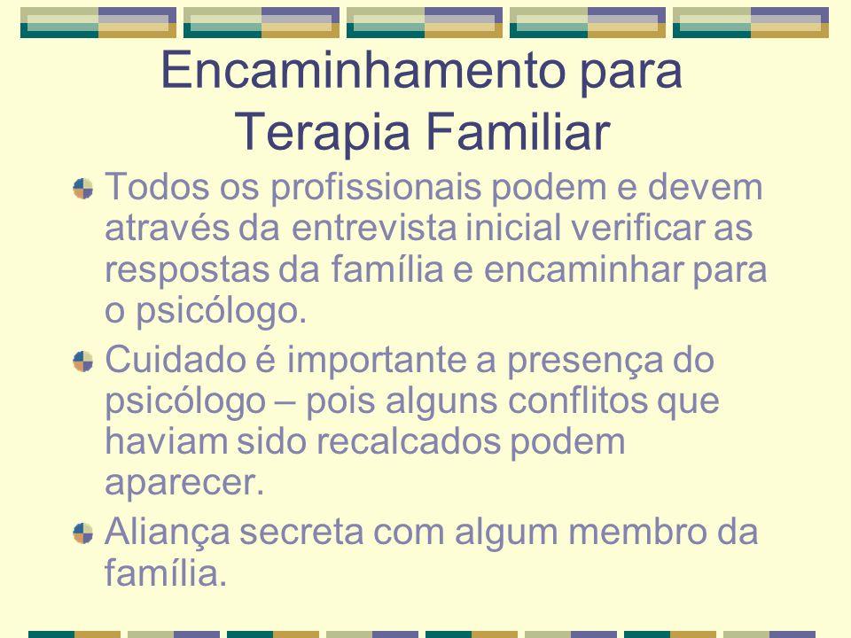 Encaminhamento para Terapia Familiar Todos os profissionais podem e devem através da entrevista inicial verificar as respostas da família e encaminhar