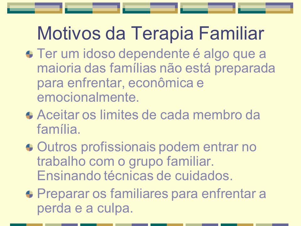 Motivos da Terapia Familiar Ter um idoso dependente é algo que a maioria das famílias não está preparada para enfrentar, econômica e emocionalmente. A