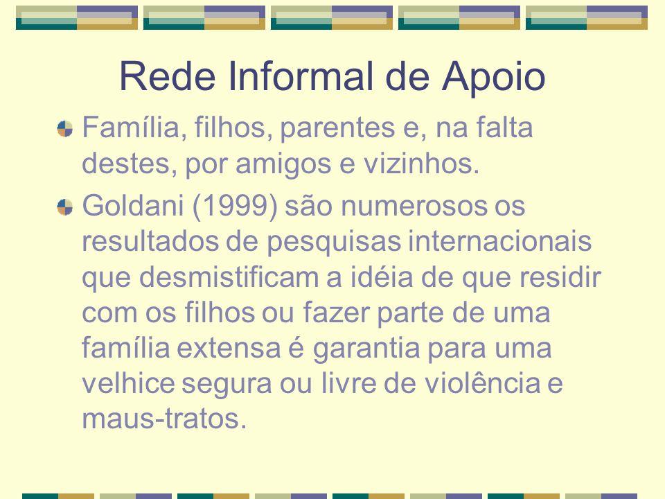 Violência contra os Idosos Debert (1999) o fato dos idosos viverem com os filhos não é garantia de presença, de respeito e prestígio, nem da ausência de maus-tratos.