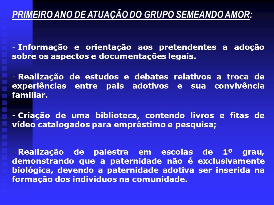 PRIMEIRO ANO DE ATUAÇÃO DO GRUPO SEMEANDO AMOR: - Informação e orientação aos pretendentes a adoção sobre os aspectos e documentações legais.