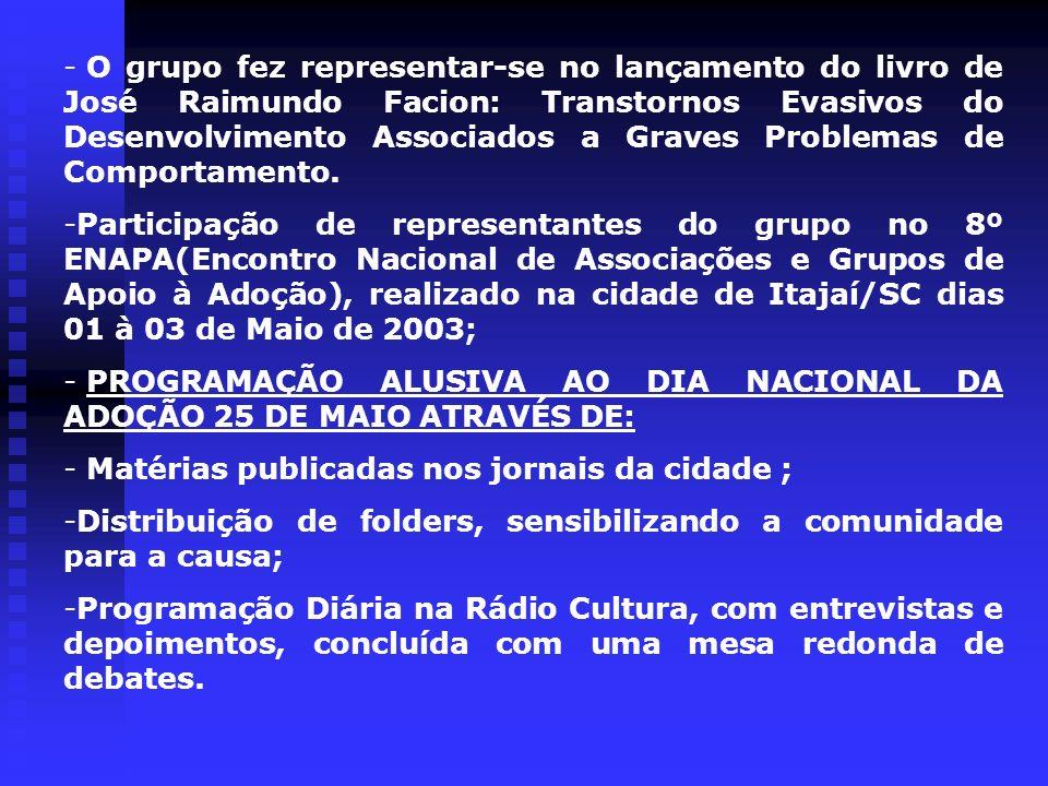 - O grupo fez representar-se no lançamento do livro de José Raimundo Facion: Transtornos Evasivos do Desenvolvimento Associados a Graves Problemas de