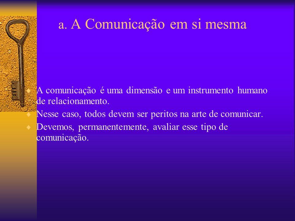 a. A Comunicação em si mesma A comunicação é uma dimensão e um instrumento humano de relacionamento. Nesse caso, todos devem ser peritos na arte de co