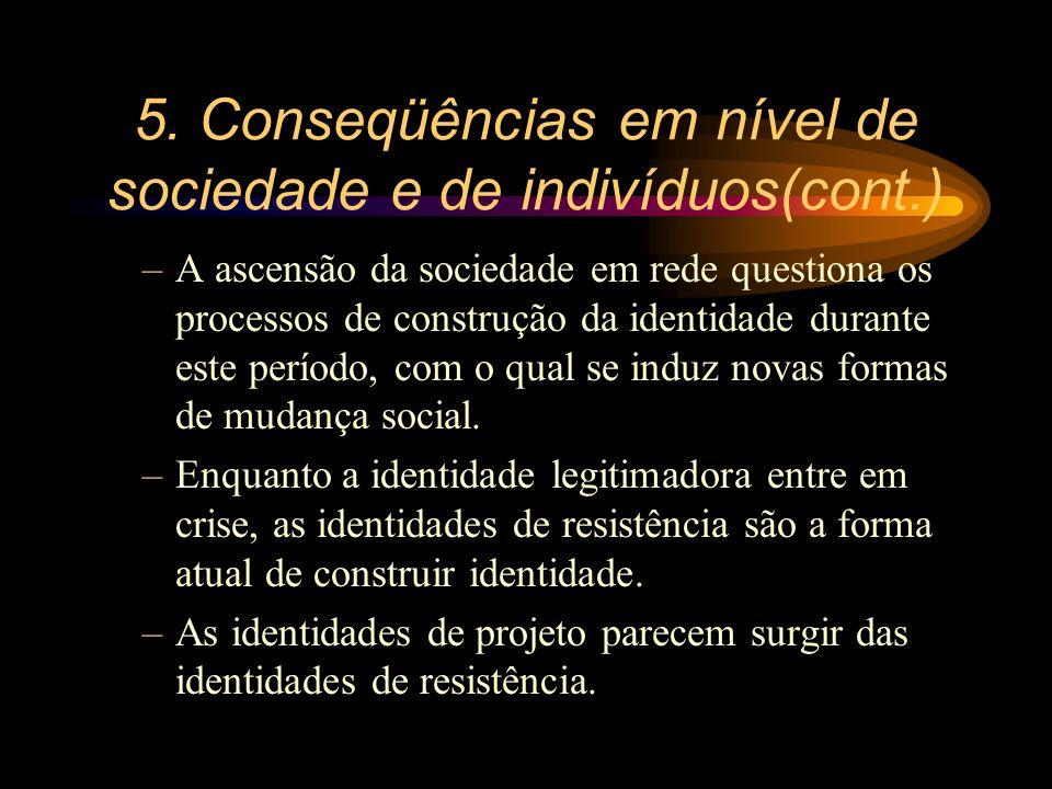 5. Conseqüências em nível de sociedade e de indivíduos(cont.) –A ascensão da sociedade em rede questiona os processos de construção da identidade dura
