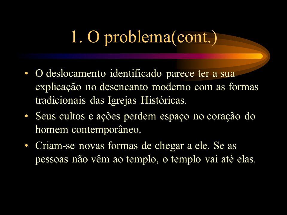 1. O problema(cont.) O deslocamento identificado parece ter a sua explicação no desencanto moderno com as formas tradicionais das Igrejas Históricas.