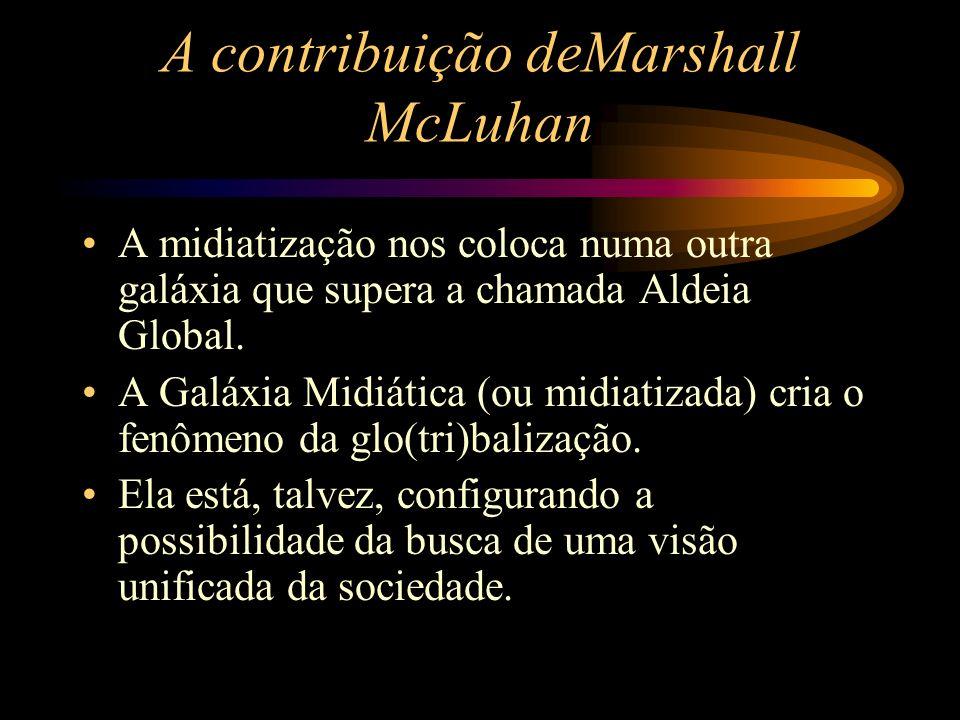 A contribuição deMarshall McLuhan A midiatização nos coloca numa outra galáxia que supera a chamada Aldeia Global. A Galáxia Midiática (ou midiatizada