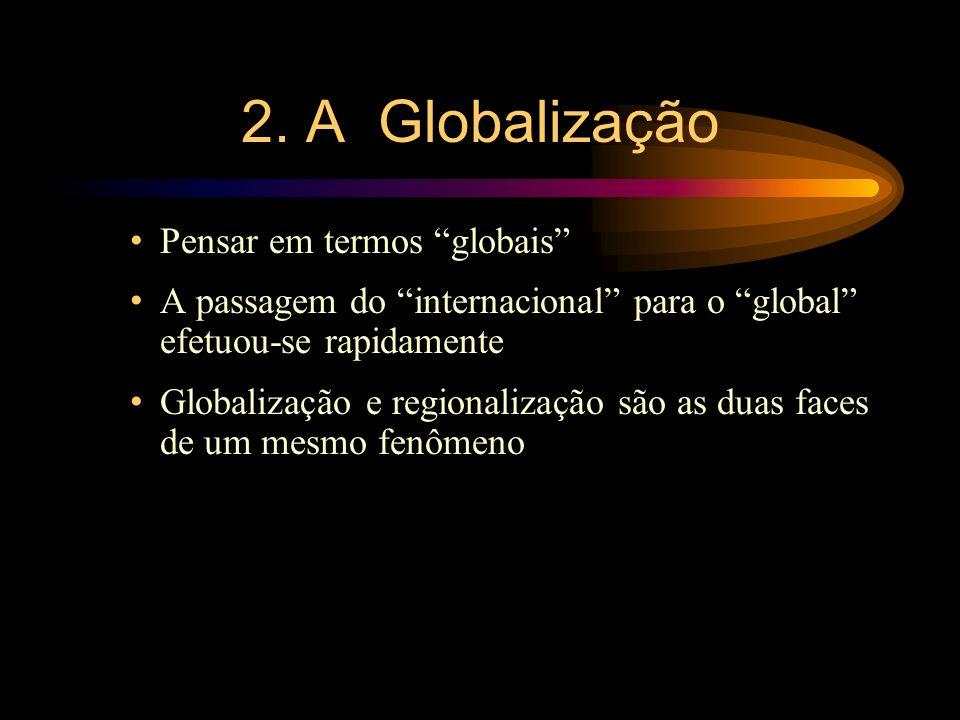 2. A Globalização Pensar em termos globais A passagem do internacional para o global efetuou-se rapidamente Globalização e regionalização são as duas