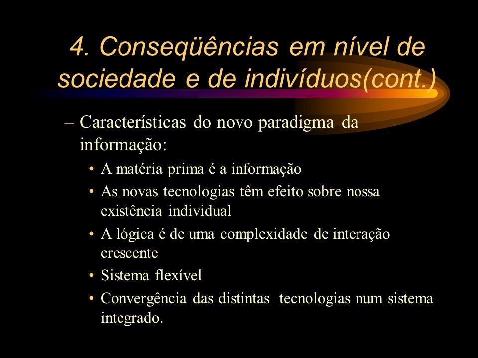 4. Conseqüências em nível de sociedade e de indivíduos(cont.) –Características do novo paradigma da informação: A matéria prima é a informação As nova