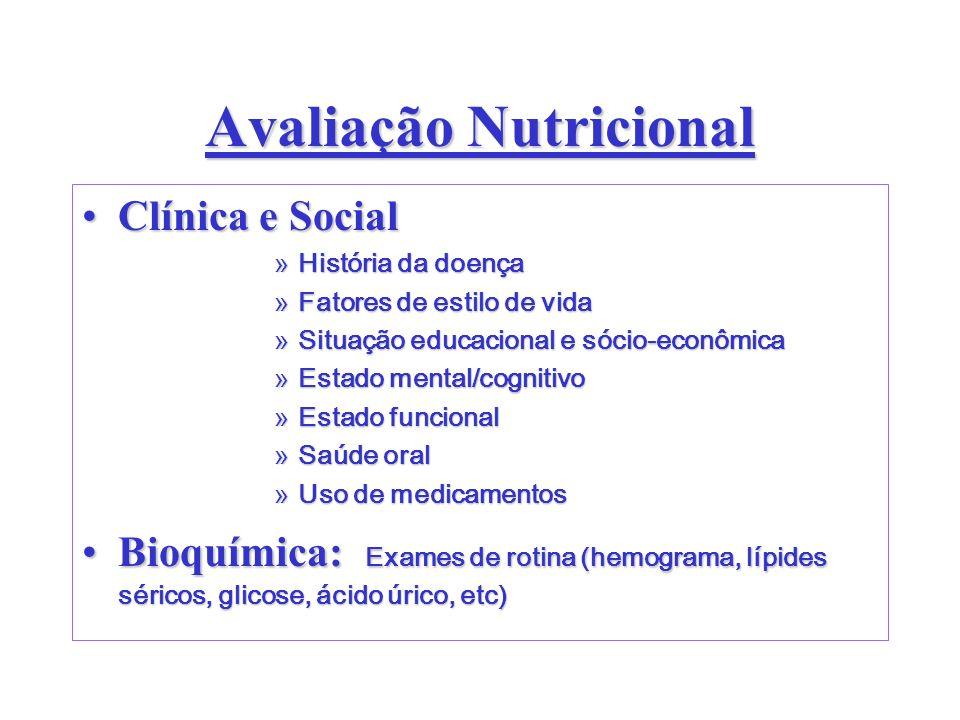 Avaliação Nutricional Clínica e SocialClínica e Social »História da doença »Fatores de estilo de vida »Situação educacional e sócio-econômica »Estado