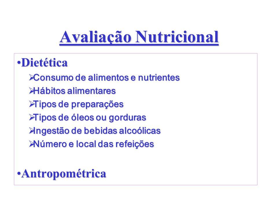 Avaliação Nutricional DietéticaDietética Consumo de alimentos e nutrientes Consumo de alimentos e nutrientes Hábitos alimentares Hábitos alimentares T