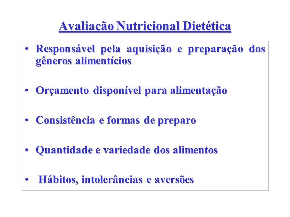 Avaliação Nutricional Dietética Responsável pela aquisição e preparação dos gêneros alimentíciosResponsável pela aquisição e preparação dos gêneros al