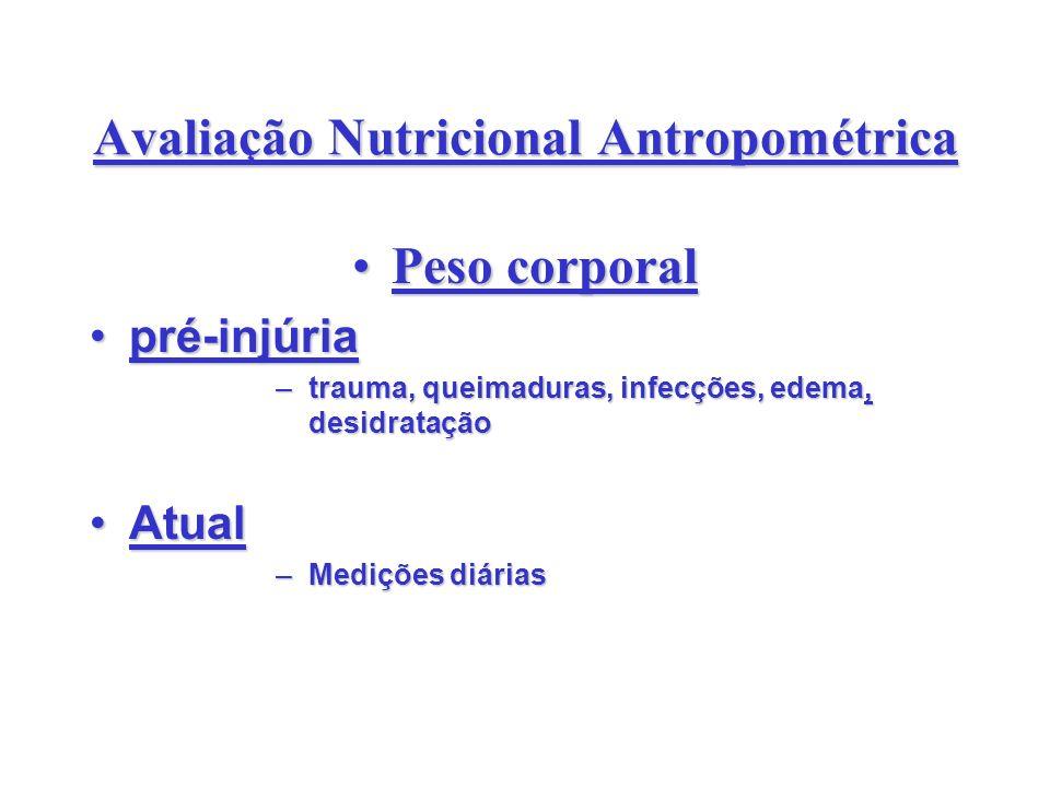 Avaliação Nutricional Antropométrica Peso corporalPeso corporal pré-injúriapré-injúria –trauma, queimaduras, infecções, edema, desidratação AtualAtual