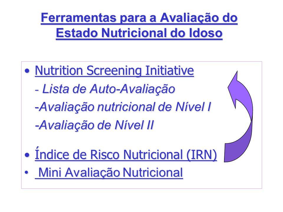 Ferramentas para a Avaliação do Estado Nutricional do Idoso Nutrition Screening InitiativeNutrition Screening Initiative - Lista de Auto-Avaliação -Av