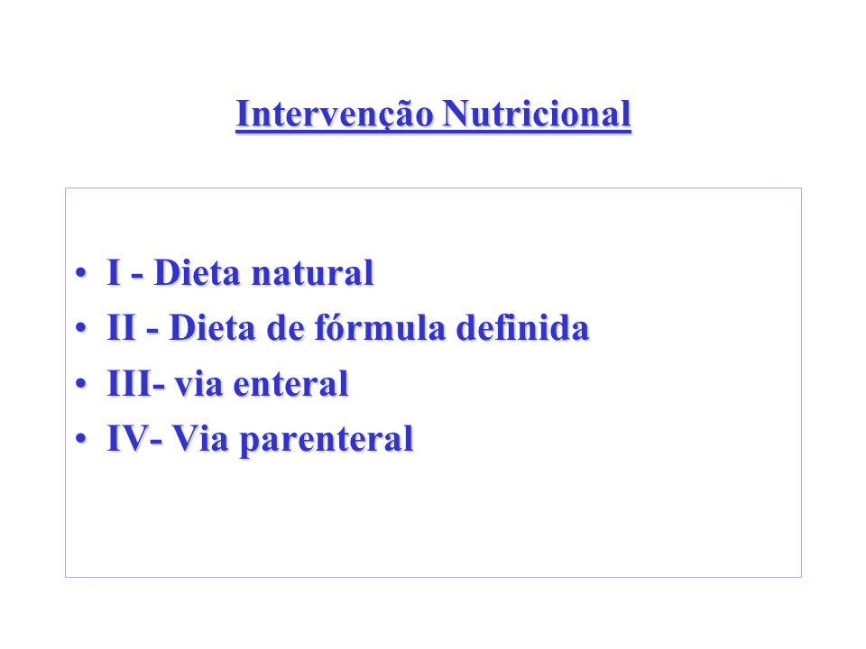 Intervenção Nutricional I - Dieta naturalI - Dieta natural II - Dieta de fórmula definidaII - Dieta de fórmula definida III- via enteralIII- via enter