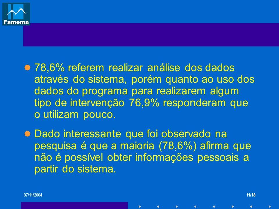 07/11/200411/18 78,6% referem realizar análise dos dados através do sistema, porém quanto ao uso dos dados do programa para realizarem algum tipo de i