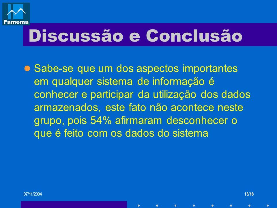 07/11/200413/18 Discussão e Conclusão Sabe-se que um dos aspectos importantes em qualquer sistema de informação é conhecer e participar da utilização