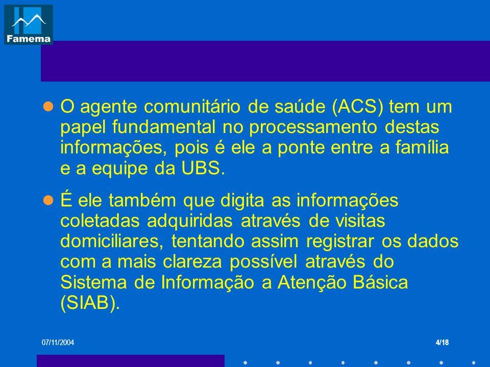 07/11/20044/18 O agente comunitário de saúde (ACS) tem um papel fundamental no processamento destas informações, pois é ele a ponte entre a família e
