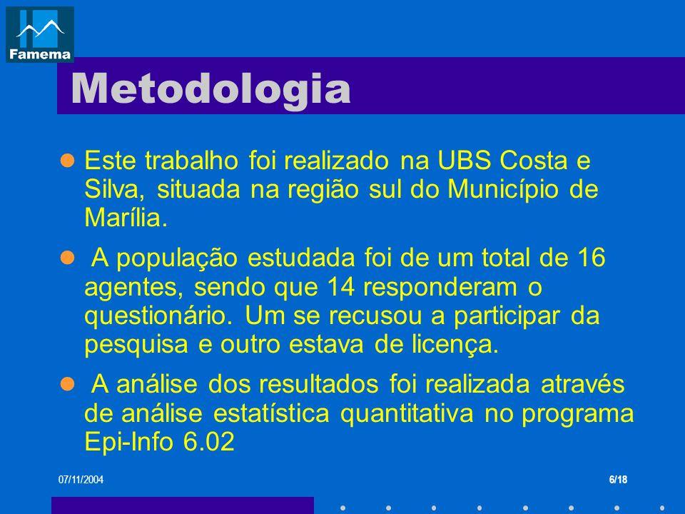 07/11/20046/18 Metodologia Este trabalho foi realizado na UBS Costa e Silva, situada na região sul do Município de Marília. A população estudada foi d