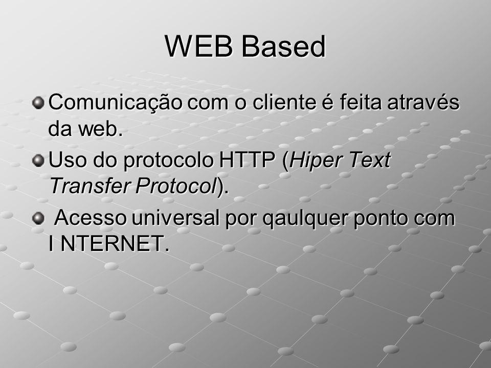 WEB Based Comunicação com o cliente é feita através da web. Uso do protocolo HTTP (Hiper Text Transfer Protocol). Acesso universal por qaulquer ponto