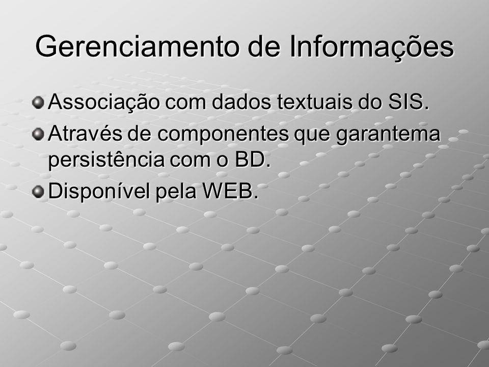 Gerenciamento de Informações Associação com dados textuais do SIS. Através de componentes que garantema persistência com o BD. Disponível pela WEB.