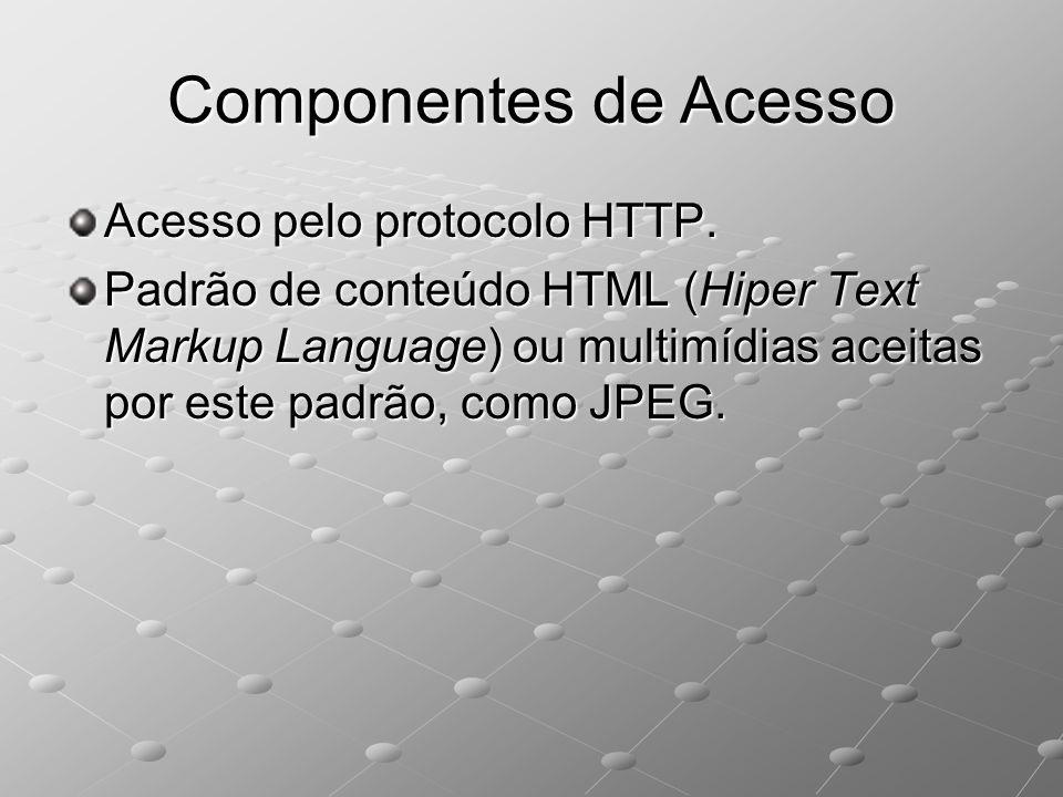 Componentes de Acesso Acesso pelo protocolo HTTP. Padrão de conteúdo HTML (Hiper Text Markup Language) ou multimídias aceitas por este padrão, como JP