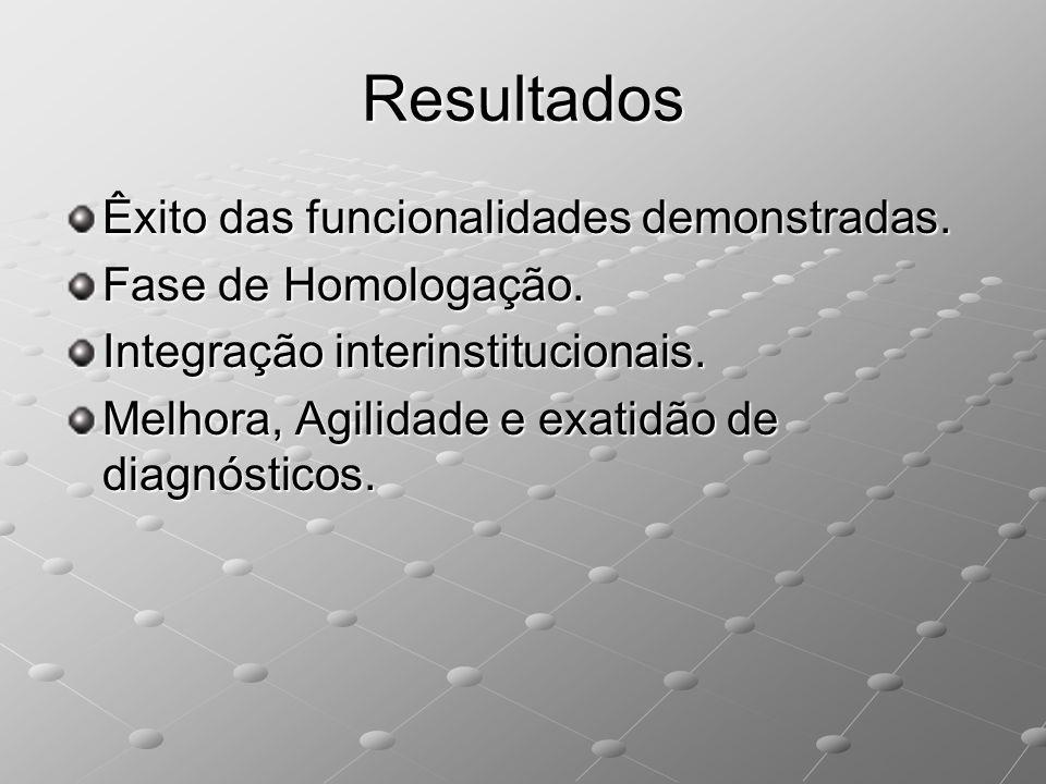 Resultados Êxito das funcionalidades demonstradas. Fase de Homologação. Integração interinstitucionais. Melhora, Agilidade e exatidão de diagnósticos.