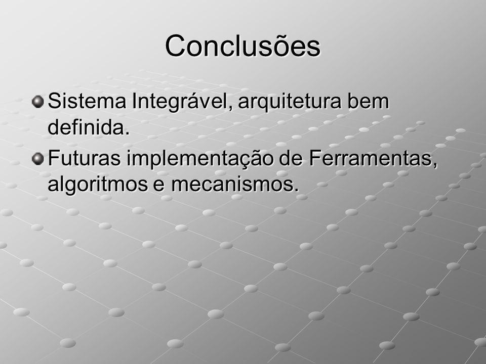 Conclusões Sistema Integrável, arquitetura bem definida. Futuras implementação de Ferramentas, algoritmos e mecanismos.