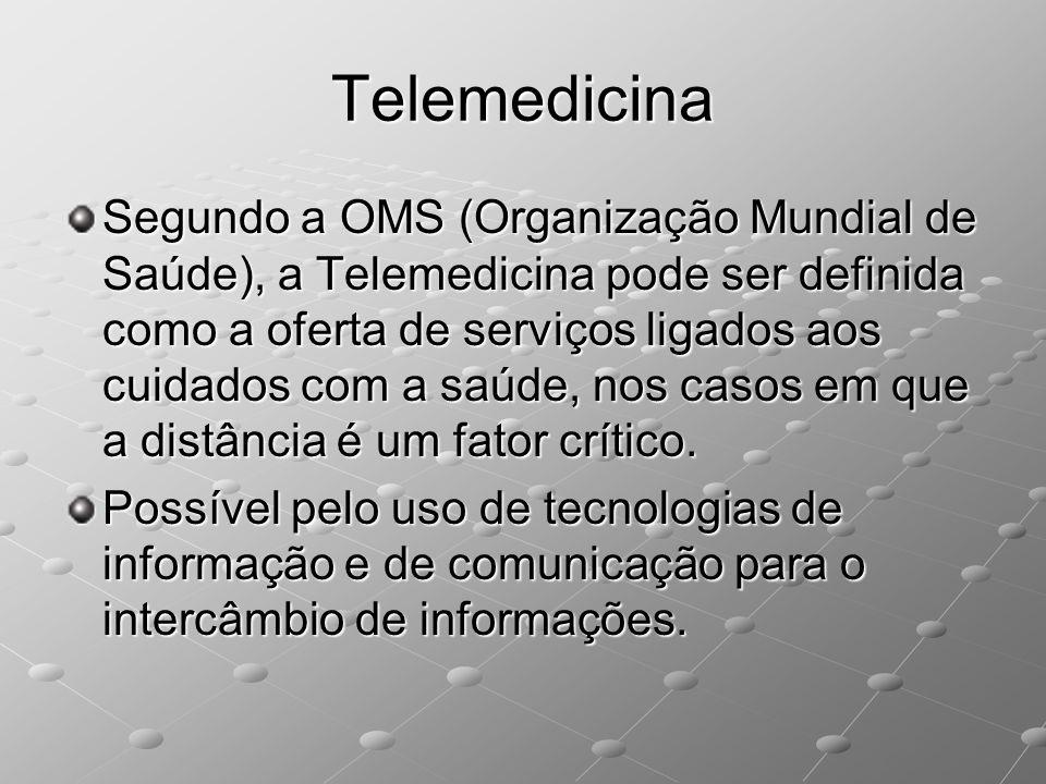 Telemedicina Segundo a OMS (Organização Mundial de Saúde), a Telemedicina pode ser definida como a oferta de serviços ligados aos cuidados com a saúde