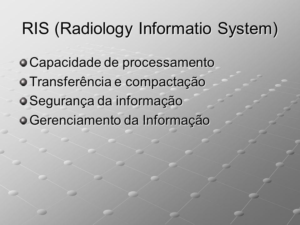 RIS (Radiology Informatio System) Capacidade de processamento Transferência e compactação Segurança da informação Gerenciamento da Informação