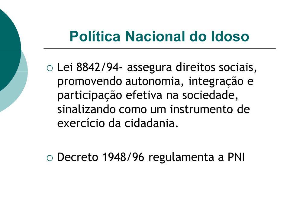 Política Nacional do Idoso Lei 8842/94- assegura direitos sociais, promovendo autonomia, integração e participação efetiva na sociedade, sinalizando como um instrumento de exercício da cidadania.