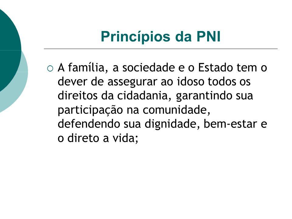 Princípios da PNI A família, a sociedade e o Estado tem o dever de assegurar ao idoso todos os direitos da cidadania, garantindo sua participação na comunidade, defendendo sua dignidade, bem-estar e o direto a vida;