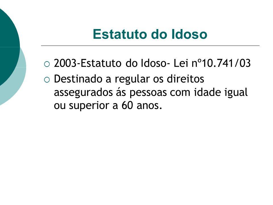 Estatuto do Idoso 2003-Estatuto do Idoso- Lei nº10.741/03 Destinado a regular os direitos assegurados ás pessoas com idade igual ou superior a 60 anos.