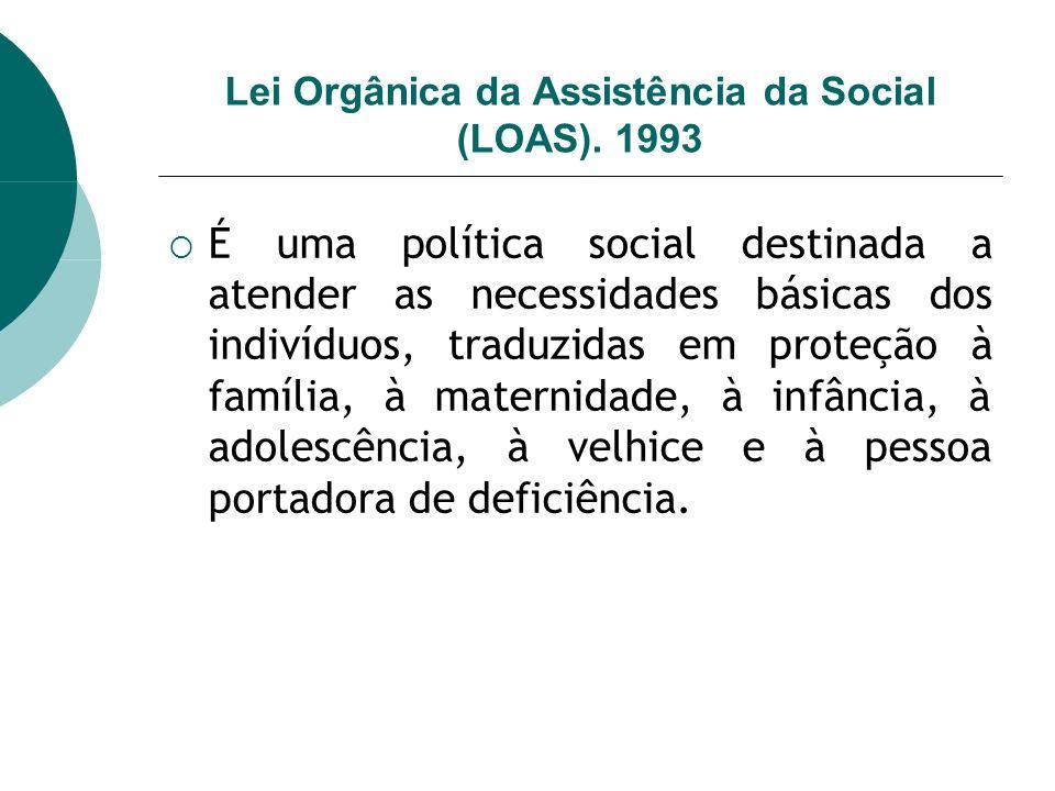 Lei Orgânica da Assistência da Social (LOAS). 1993 É uma política social destinada a atender as necessidades básicas dos indivíduos, traduzidas em pro