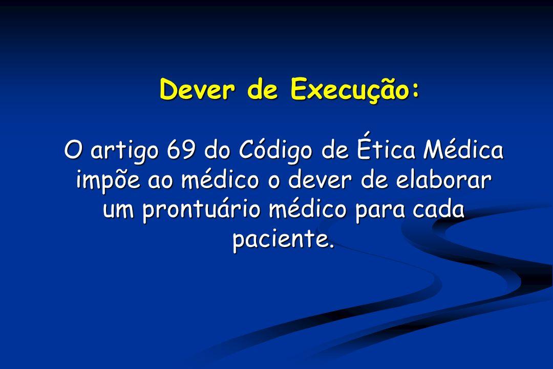 Dever de Execução: O artigo 69 do Código de Ética Médica impõe ao médico o dever de elaborar um prontuário médico para cada paciente.