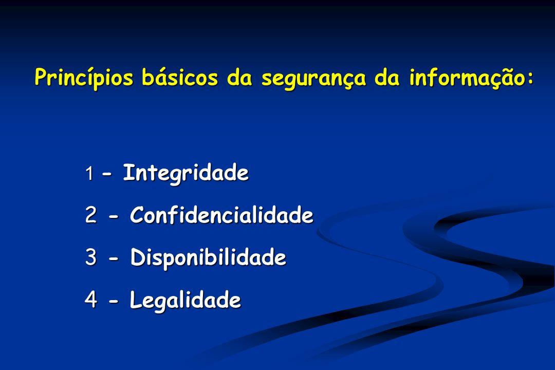 Princípios básicos da segurança da informação: 1 - Integridade 2 - Confidencialidade 3 - Disponibilidade 4 - Legalidade